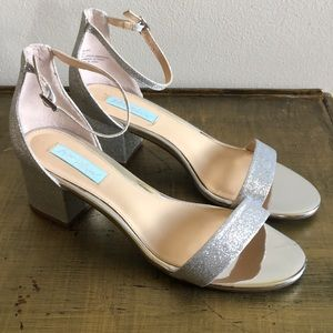 Miri sandals silver wedding glitter ankle 9.5